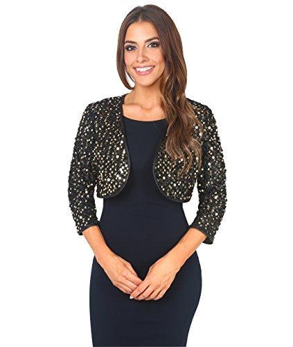 KRISP Bolero Elegante Mujer Fiesta Torera Talla Grande Punto Boda Blazer Traje Americana Chaqueta para Vestido, (Dorado (7363), XXL (44-46)), 7363-GLD-XXL