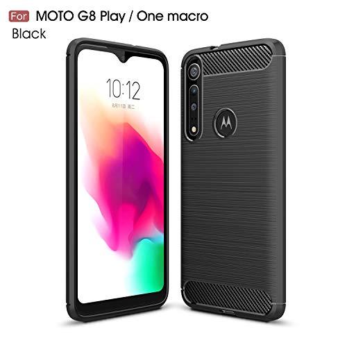 NUPO Hülle für Moto G8 Play/Motorola One Macro, Silikon TPU Schale Kratzfest Kohlefaser Optik Cover Carbon Fiber Erscheinungsbild Shockproof Schutzhülle Hülle für Moto G8 Play Smartphone (Schwarz)