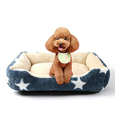 JMHUND Luxury Faux Fur Dog Beds for Medium Dogs for Small Dogs, Rectangle Plush Pet Cat Bed, Machine Washable Soft Dog Cushion for Crate with Premium High Resilience PP Cotton, Blue M