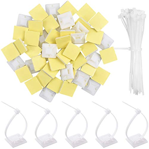 50 Stück Weiß Kabelbinder Klebesockel, Nylon Kabelbinder Set, 20mmx20mm Selbstklebend Kabelbinderhalter Klebebefestigungen mit 100mmx3mm Zip Ties für Kabel in Wohnungen, Schulen, Büro