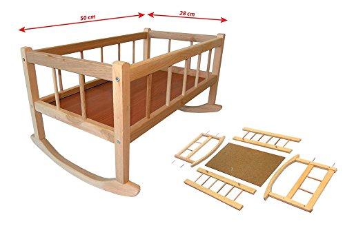 Rappa 112087 - Cuna para muñecas grande de madera natural