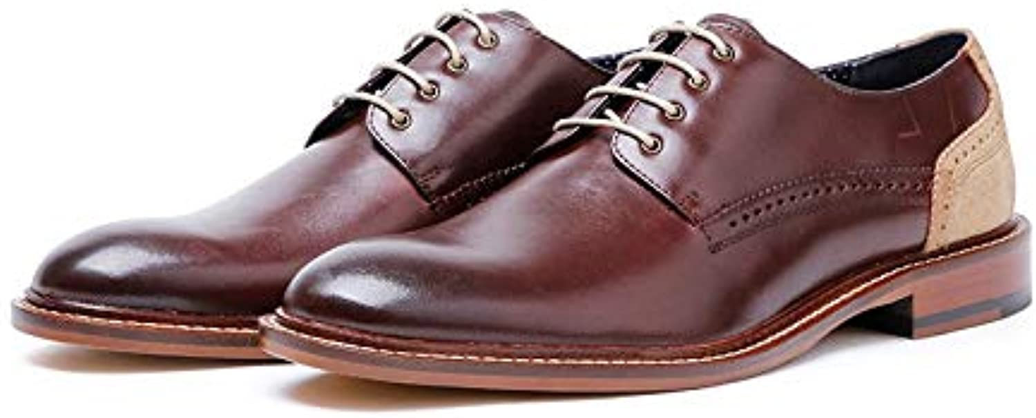 Ruanyi Men's Business Leather Oxford shoes high-Grade lace-up Casual Splice Type shoes (color   Brown, Size   41-EU)