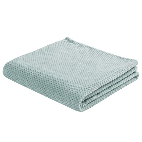 SOCHOW Flannel Fleece Throw Blanket with Super Soft Waffle Textured Patterns Warm Lightweight Versatile for All Seasons Perfect for Bed Sofa Couch 60 x 80 Inches Mint