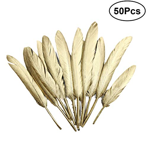 SUPVOX Plumas doradas hermosa pluma para centros de mesa de arte diy wedding home party decorations 50 unids