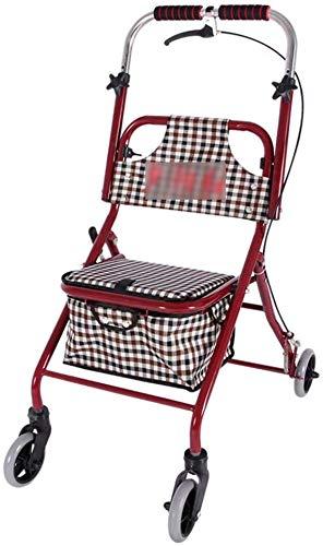 Warenkorb Old Man Trolley Tragbare Walker Home Warenkorb Mit Sitz Falten Rollstuhl Geschenk für Frauen Reisen Urlaub Camping Tragen 150Kg