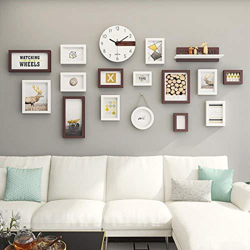 Kuingbhn Marcos de Fotos Moderne Golpe Gratis para Colgar Fotos por decoración Habitaciones Bodas Cumpleaños Kalu Blanco