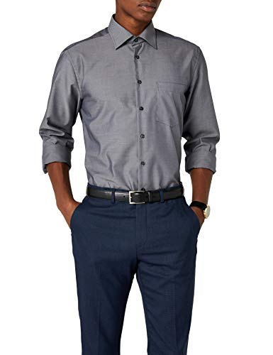 Seidensticker Herren Business Hemd Regular Fit Langarm, Grau (Grey 67), 48