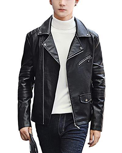 QitunC Hombre PU Cuero Chaqueta de Motorista Solapa Cremallera Imitación Cazadora de Piel Abrigos Negro XL