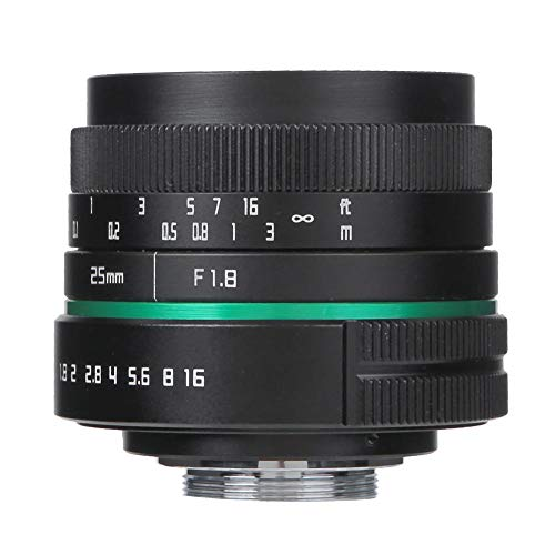 EBTOOLS Spiegelloze cameralens, 25 mm F1.8 C-montage Liggend Portretfotografie met vaste focus Spiegelloze cameralens Handmatige cameralens voor Sony E-vatting, voor Canon EF-M-vatting