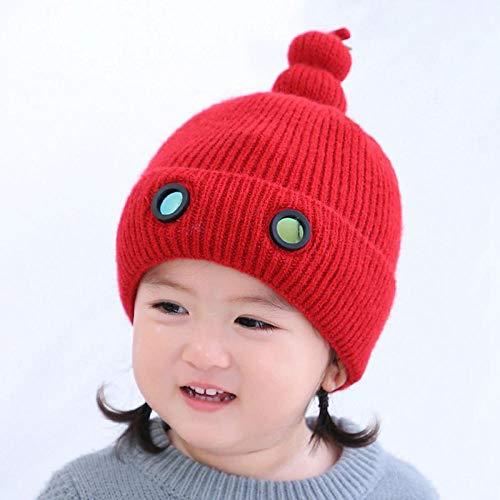 Gorro Beanie Hombre Niñas Otoño Lindo Bebé De Punto Sombreros De Bebé Niños Gorra De Invierno Cálido Oído Sólido Gorro Niños S Sombreros para Niños-Rojo 1-3 Años
