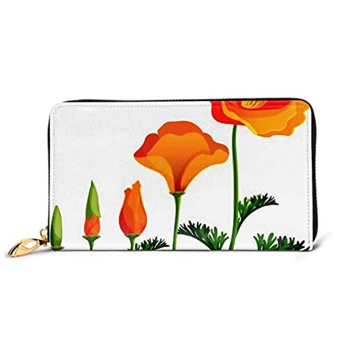 Ahdyr Fashion Handbag Zipper Wallet Poppy Orden Ascendente Etapas Crecimiento Vector Teléfono Embrague Monedero Tarde Embrague Bloqueo Leathe