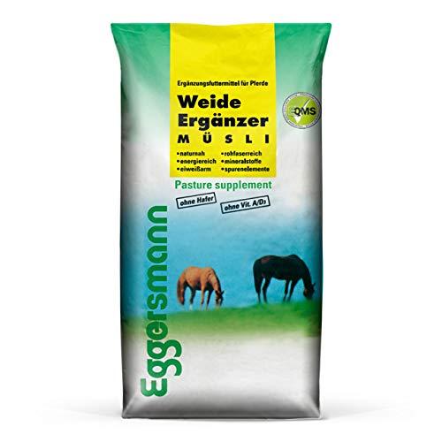 Eggersmann Weideergänzer – Rohfaserreiches Pferdemüsli ohne Hafer – Ergänzung zum einseitigen Weidegras – 20 kg Sack