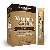 Nutrient Vitamin Coffee - Infused Coffee Packets - Instant Coffee Singles with 13 Daily Multi Vitamins - A, B6, B12, C, D, E, K, Biotin, Folate, Thiamin (B1), Riboflavin (B2), Niacin (B3) and (B5)