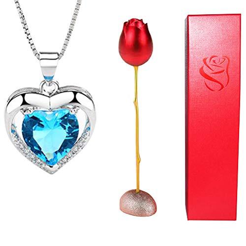 Collar de Cristal de Caja de Flor Rosa de Moda para Hombres y Mujeres Joyero de aleación