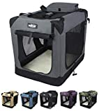 EliteField 3-Door Folding Soft Dog Crate, Indoor & Outdoor Pet Home, Multiple Sizes and Colors Available (42' L x 28' W x 32' H, Gray)