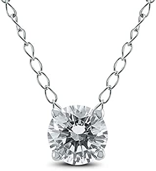 1/2 Carat Floating Round Diamond Solitaire Necklace in 14K White Gold