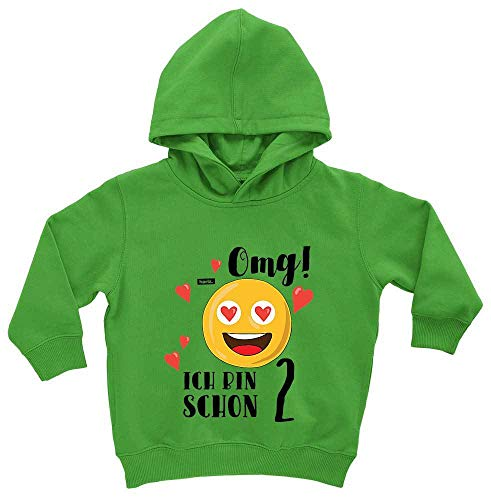 Hariz - Juego de 2 tarjetas de regalo para bebé con capucha, diseño de emoticono Schnödder Lime verde. 12-24 meses