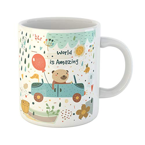 Emvency Funny Coffee Mug Cute with Bear Car Balloon Rain Drops Bee Honey Barrel Flag Cloud Flowers 11 Oz Ceramic Coffee Mug Tea Cup Best Gift Or Souvenir