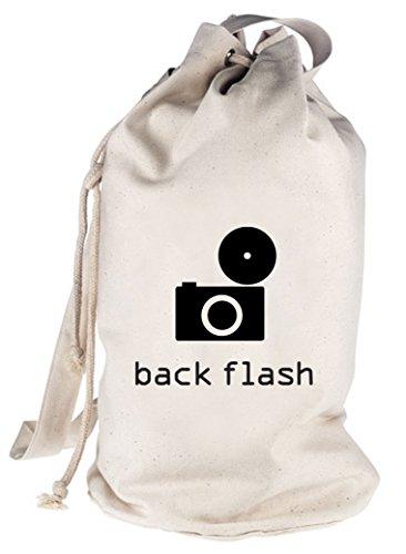 Shirtstreet24, BACK FLASH, Kamera Retro bedruckter Seesack Umhängetasche Schultertasche Beutel Bag, Größe: onesize,natur