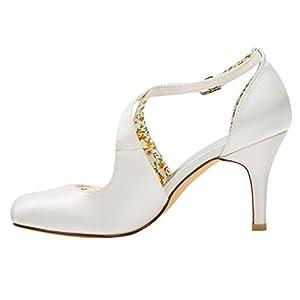 Emily Bridal Scarpe da Sposa Scarpe da Sposa Vintage Décolleté con Tacco Alto e Cinturino alla Caviglia con Cinturino…