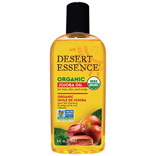 Desert Essence Organic Jojoba Oil - 4 Fl Oz - Moisturizer for Face, Skin, Hair - Cleanses Clogged...