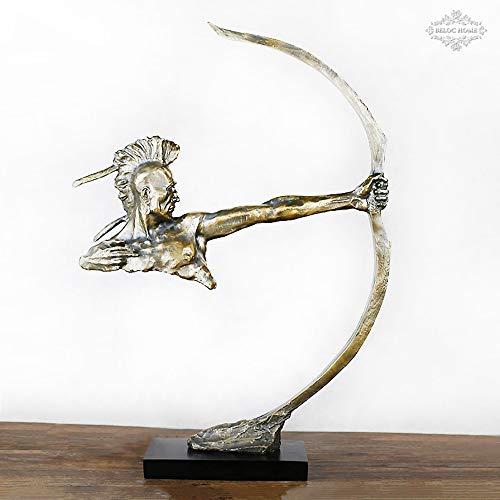 ZHZX Nachgemachte Bronzeharz-Skulptur, Verzierungen Einer schießenden indischen Bogenschütze-Statue, für Innenwohnzimmer-Arbeitszimmer-Büro