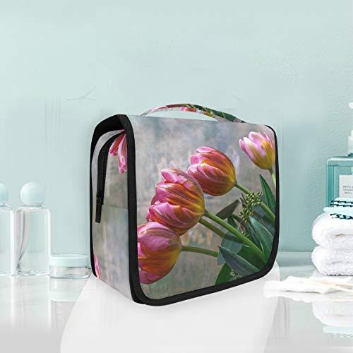 Kulturbeutel mit Frühlingsblumen-Motiv, rote Tulpen, zum Aufhängen, Make-up-Tasche, multifunktionale Aufbewahrungstasche, tragbare Waschtasche für Damen und Mädchen