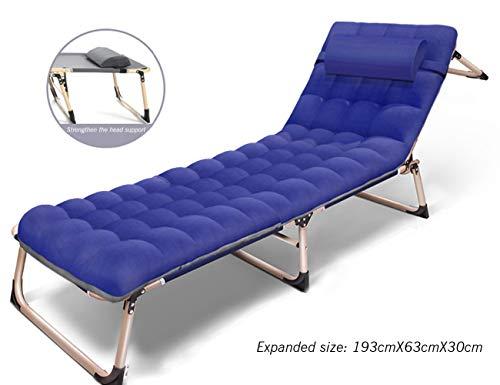 4-speed verstelbare draagbare klapstoel, kantoor lunchbed Modern design size Blue+velvet