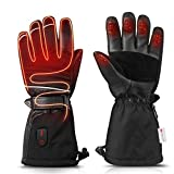 ZEROFIRE Heated Gloves for Men & Women, Waterproof Electric Heated Winter Ski & Snow Gloves with 3M Thinsulate Touchscreen Synthetic Leather Palm for Ski, Snowboarding, Hunting - Medium