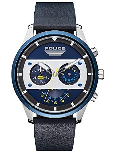 Police Reloj Analógico para Unisex Adultos de Cuarzo con Correa en Cuero PL15411JSTBL.03