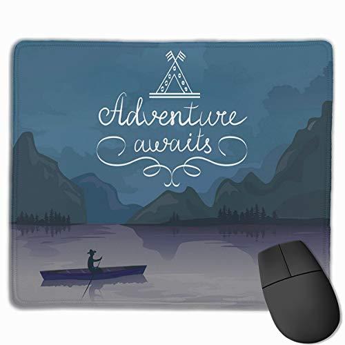 HUAYEXI Alfombrilla Raton Ordenador,Kayak en un Lago de montaña en la Noche Actividad de Campamento Cita de Estilo de Vida,Alfombrilla Gaming Base de Goma Antideslizante