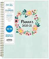 """Blue Sky 2020-2021 Academic Year Weekly & Monthly Planner, Frosted Flexible Cover, Twin-Wire Binding, 8.5"""" x 11"""", Laurel"""