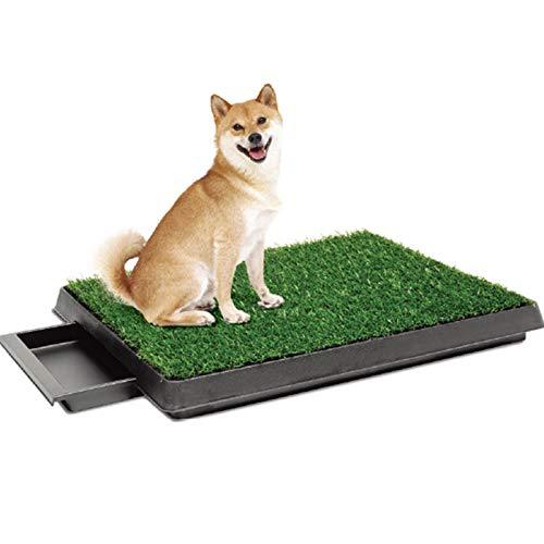 Cajas de arena/Inodoro para Perros Mascotas Puppy Potty Training Grass Pad Con Cajón, Bandeja De Inodoro De Césped Artificial Para Perros Pequeños Y Grandes Mascotas, Alfombrilla Para Orinar P