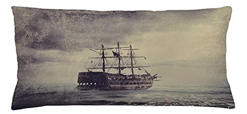 Funda de cojín náutica, diseño de barco pirata viejo en el mar, leyenda histórica, crucero, estilo retro Voyage Grunge, funda de almohada decorativa cuadrada, 50,8 x 70,8 cm, color marrón