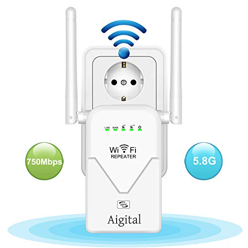 Aigital WLAN Repeater AC750 Dualband WiFi Verstaerker Range Extender 750 Mbit/s Mini Router Signalverstärker(2,4 GHz/5GHz,2X Fast-Ethernet Port,WPS, Kompatibel mit Allen WLAN Geräten)super Boost WiFi
