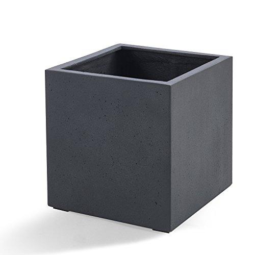 Luca Lifestyle Pflanzkübel Grigio Cube Dunkelgrau Quadratisch Fiberglas * 5 Jahre Garantie* - 30x30x30cm - F232