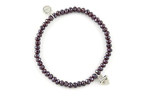 Lizas Jewellery Bracelet Wine Red Pearl Bracelet Various Models Burgundy/Purple with Heart
