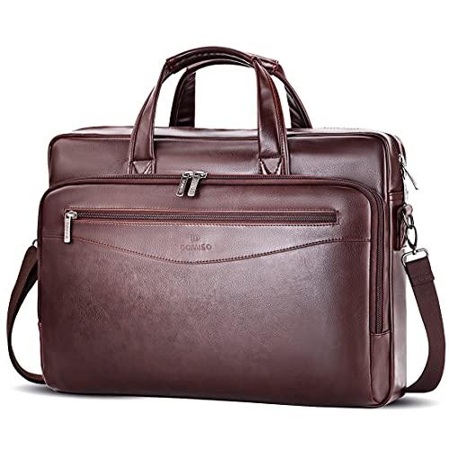 DOMISO Bolso para ordenador portátil, bolso bandolera, bolso de trabajo, bolso de trabajo, bolso de suspensión, para portátiles de 17 a 17,3 pulgadas, Notebook/dell/Acer/HP/MSI, marrón