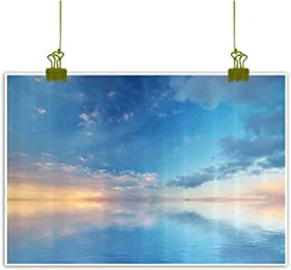 Sumilace Art Poster Printed Wall Art Poster, Inside Out Sky and Sea Looks Like Combined in The Horizon Ocean Clouds Tranquil Peace Theme Home Decoration - 20