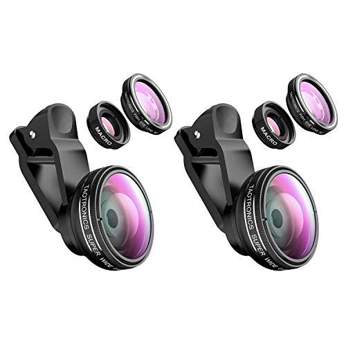 TaoTronics Fisheye Objektiv Handy Clip-On Kamera Adapter für Smartphones 180 Grad Fisheye Objektiv, 10x Macro Objektiv, 0,4X Weitwinkelobjektive-2 Stück
