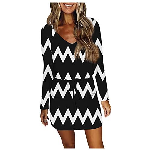 Minikleid Langarm Freizeitkleid Langarm Blusenkleid Damen Kleider Tshirt Winterkleid für Damen V-Ausschnitt Minikleid Lose Tunika Boho Loose Rock Leinenkleider Geschenk Für Frauen (I-Beige, XL)