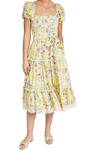 LOVESHACKFANCY Women's Masie Dress, Rainbow Skies, Floral, Yellow, Small