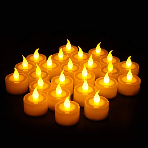 Flameless LED Tea Lights Candles, Furora LIGHTING Battery Operated Tea Light Candles Pack of 24, Realistic and Bright Flickering Electric Fake Candles for Seasonal & Festival Celebration