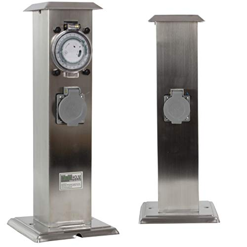 TRUTZHOLM Steckdose Außensteckdose mit Zeitschaltuhr Steckdosensäule Gartensteckdose Energiesäule IP44
