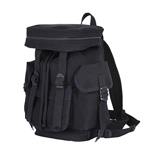(ロスコ) Rothco ミリタリー軍物 コンパクトキャンパスバックパック ヨーロピアンCompact Canvas European Rucksackバッグ29305 (BLACK) [並行輸入品]