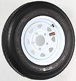 eCustomrim 11C Trailer Tire + Rim 5.30-12 530-12 5.30 X 12 12' Heavy Duty Load Range C Tire 5 Lug Wheel White Spoke