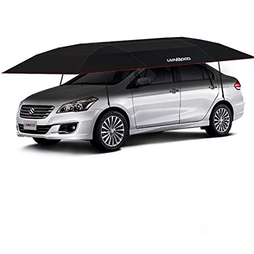 LANMODO Car Tent, Portable Car Umbrella Tent Cover Movable Carport Canopy Folded with Anti-UV, Water-Proof, Proof Wind, Snow, Falling Objects (4.8M Auto Without Stand, Black)