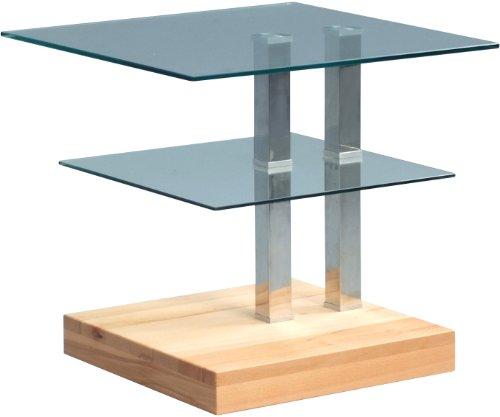 HomeTrends4You 504717 Beistelltisch, 50 x 47 x 50 cm, kernbuche massiv geölt glas Rollen