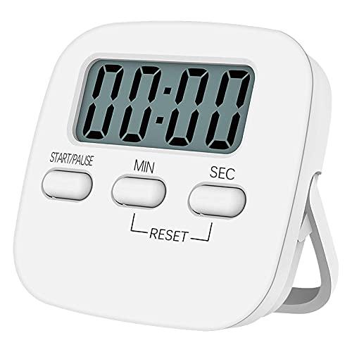 NIAGUOJI - Timer da cucina digitale con grande schermo LCD, timer magnetico con sveglia forte e conto alla rovescia (bianco)