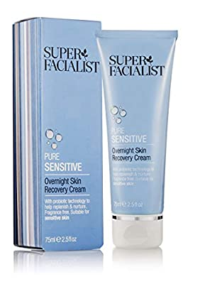 Super Facialist Pure Sensitive Overnight Skin Recovery Face Cream. Moisturiser Restores Balance To STRESSED Skin 75 ml